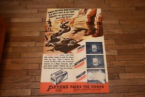 Rare Vintage Peters High Velocity Shells Ammo Snake Hunting Poster Ad Brochure