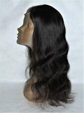 "Lace Front Human Hair Wig - 22"" Long Dark Brown/Brunette/Black Wavy Hair"