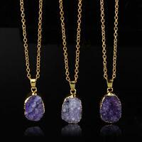 New Necklace Gems Pendant Natural Stone Crystal Geode Druzy Clusters Rock Quartz