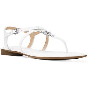 New Michael Kors Bethany Sandal Patent Optic White vachetta leather flat Mk logo