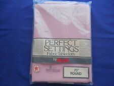 "Ex-Cell Perfect Settings Fabric Tablecloth 70"" Round NIP Rose"