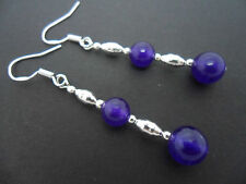 A PAIR OF PURPLE JADE   EARRINGS WITH 925 SOLID SILVER HOOKS. NEW..