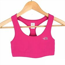 The North Face Small Magenta Pink Logo Front Racerback Athleisure Sports Bra