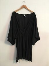 Badgley Mischka Womens S SM Swimsuit Bikini Coverup BLACK BEADED Lace Up Kaftan