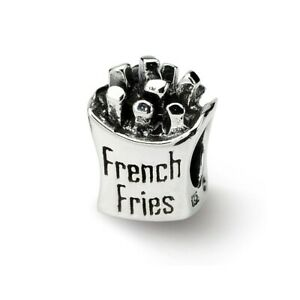 French Fries Bead .925 Sterling Silver Antique Finish Reflection Beads