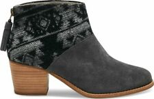 NEW TOMS Wool Leila Bootie, Forged Iron Grey Suede Tribal Wool, Women Size 6