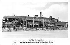 RPPC HOTEL EL RANCHO Gallup, NM Ranch House Route 66 Roadside Postcard ca 1940s