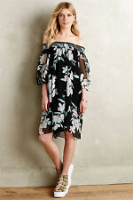 Paola Silk Swing Dress Off The Shoulder Floral By Maeve Anthropologie, Size S