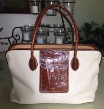 FURLA Pebbled Leather/Croc Embossed Carryall WEEKENDER Tote Bag Purse Whitebrown