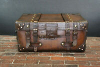 Antique Stunning Solid Leather Iron Bound Antique Boot Trunk Table Or Box ZA13