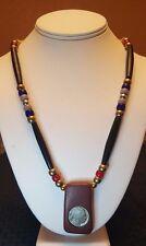 Beaded  Buffalo Nickel - Catlinite Pendant Necklace - Native American - Lakota