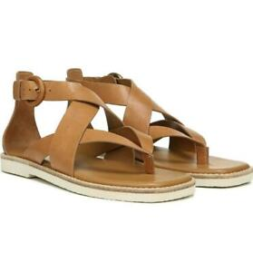 $225 - Vince Morris Tan Leather Strappy Flat Thong Sandals Size 8
