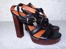 Colin Stuart Platform Heels size 8 Black Crocodile Style Leather