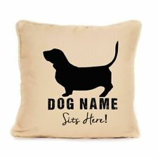 More details for gift for dog basset hound cushion sits here design unique dog lover present