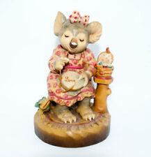Vintage Anri Wood Carved Large Koala Bear Love Embroidery Sarah Kay Figure