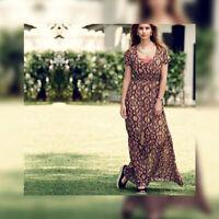 AVON Ladies Womens Long Casual Holiday Summer Maxi Dress Short Sleeve Size 8 10