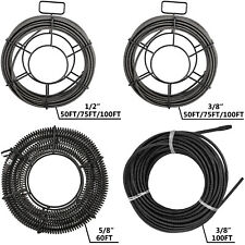 50'-100'x3/8''-5/8'' Drain Cleaner Auger Cable Replacement Snake Pipe Sewer Wire