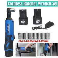 """New 3/8"""" 40N.m LED Right Angle Cordless Electric Ratchet Wrench 2 Battery Kit"""