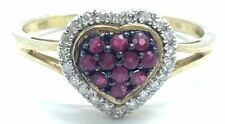 Sterling Silver Gold Tone Petite Ruby Heart Diamond Accent Love Cocktail Ring