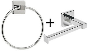 Toilet Roll Stand & Towel Ring Set Chrome Wall Mounted Bathroom Storage