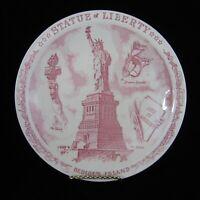 Vernon Kilns Statue of Liberty Plate Souvenir Bedloes Island NYC Skyline Border