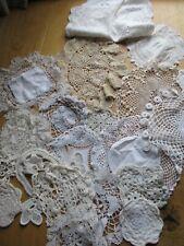 Job Lot of 20 Vintage Doilies Chair Back Crochet Damaged Crafts Rework (Ref#8)