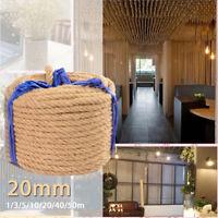20mm 1-50m Hessian Jute Rope Twine String 100% Natural Hemp Linen Cord Home DIY