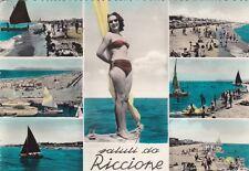 * RICCIONE - Panorami e Donna in costume da bagno 1958