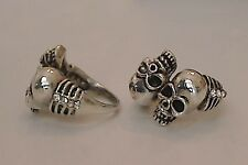Unique Trending  Double Skull Punk Gothic Silver Plated Rhinestone Ring