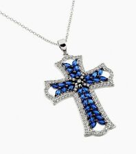 925 STERLING SILVER CROSS PENDANT NECKLACE W/ TANZANITE & ACCENTS /18'' LONG