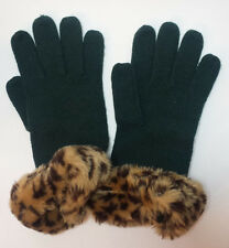Isotoner Women Green Gloves with Faux Fur Cuffs