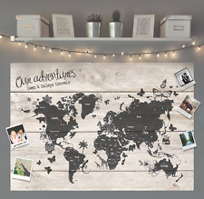 Personalised Gift Travel World Map Pinboard MEDIUM