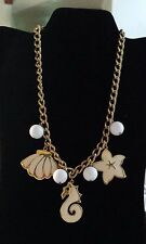 Vintage Necklace Napier Signed Cream Enamel Seaside Charms White Beads Gold Tone