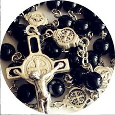 Black Carnelian Agate ROSARY & St.Benedict Cross CRUCIFIX CATHOLIC NECKLACE BOX