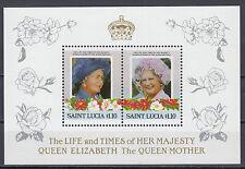 St Lucia 767 und 768 als Block postfrisch 85.Geburtstag Königinmutter Elisabeth