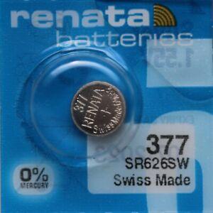 1 x Renata 377 V377 SR626SW SR66 AG4 24mAh 1,55V Knopfzelle Uhrenbatterie