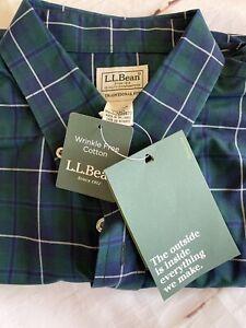 NEW! L.L Bean Men's Wrinkle Free Cotton Plaid Button Up Shirt Size Large Tall