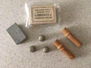 VTG Sewing Lot - Thimbles - Sharps Needles-Midgets Wood Spools-Boye Shuttle Case