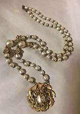 Lovely Vintage Miriam Haskell Long Baroque Pearl Necklace w/ Pendant 29 Inches