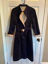Vintage Ladies Ultrasuede Reversible Jacket Coat Dress Navy & Khaki Exc Cond