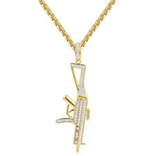 AK-47 Gun Pendant 14k Gold Finish Sterling Silver Simulated Diamond Men Chain