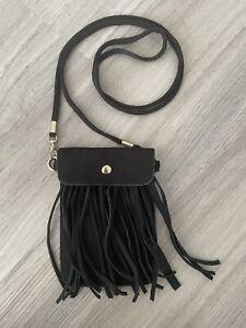 Black Suede Crossbody Tassled Phone Bag/Pouch