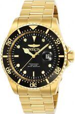 Invicta Men's Watch Pro Diver Scuba Quartz Black Dial Yellow Gold Bracelet 25717