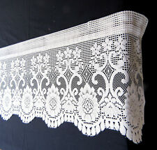 """Lace Window Valance Cafe Curtains 18x63"""" White"""