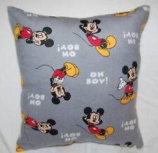 NEW  DISNEY HANDMADE MICKEY MOUSE OH BOY! GRAY FLANNEL TODDLER/TRAVEL PILLOW