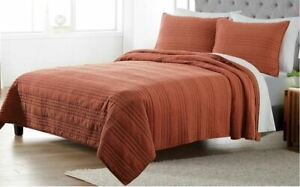Sonoma Goods For Life Cotton Gauze Quilt & Shams Terracotta King/Cal King NEW