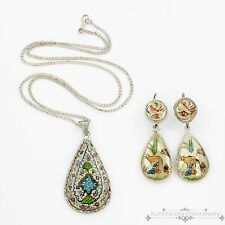 Antique Vintage Deco Sterling Silver Chinese Enamel MOP Necklace Earring Set