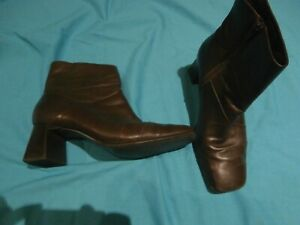 Easy Steps Brown Leather ankle Boots with block heel ladies size 9