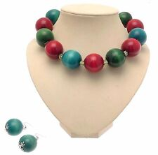 Chunky Wooden Bead Necklace Wooden Necklaces Beaded Jewelry Set AW55