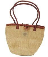 Shoulder bag with Leather handle natural fibre fairtrade hand made African Co-op